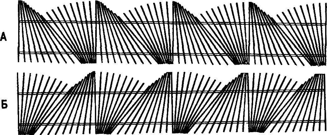 Штакетник с использованием фрагментов «полувеер» и «полусноп»