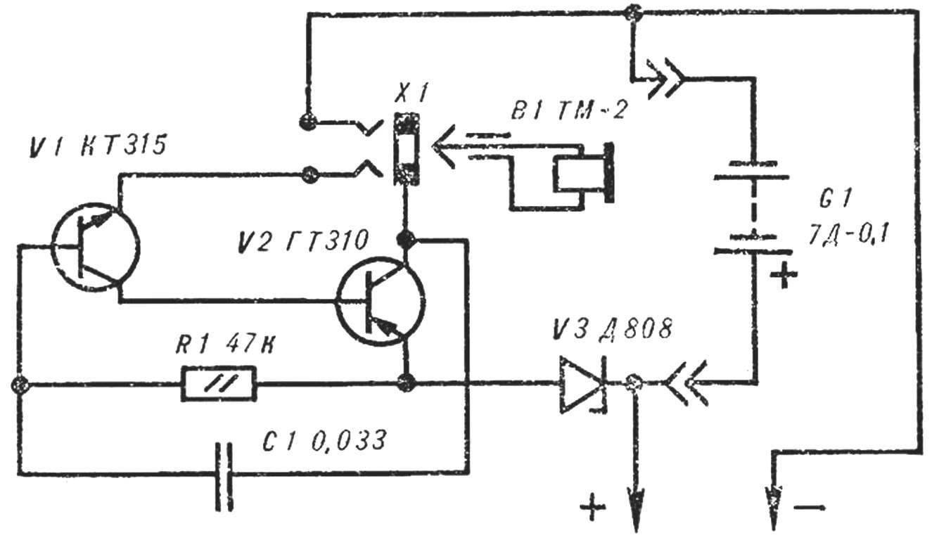 Рис. 1. Принципиальная схема сигнализатора.