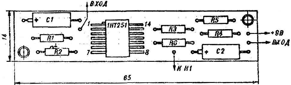 Рис. 3. Расположение деталей на печатной плате пробника.