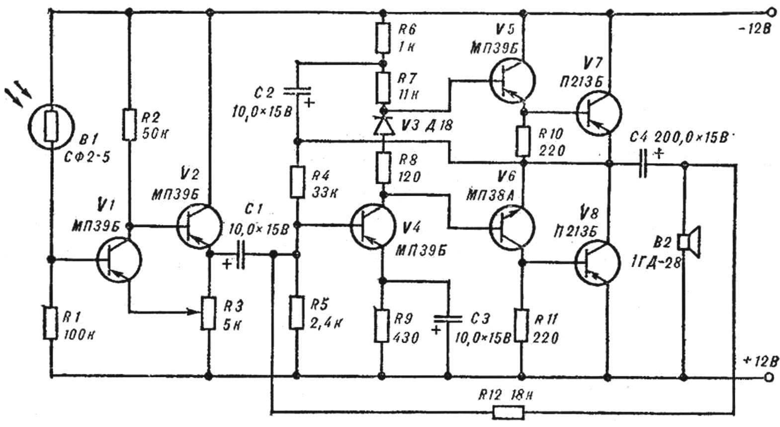 Рис. 2. Принципиальная схема фототелефона.