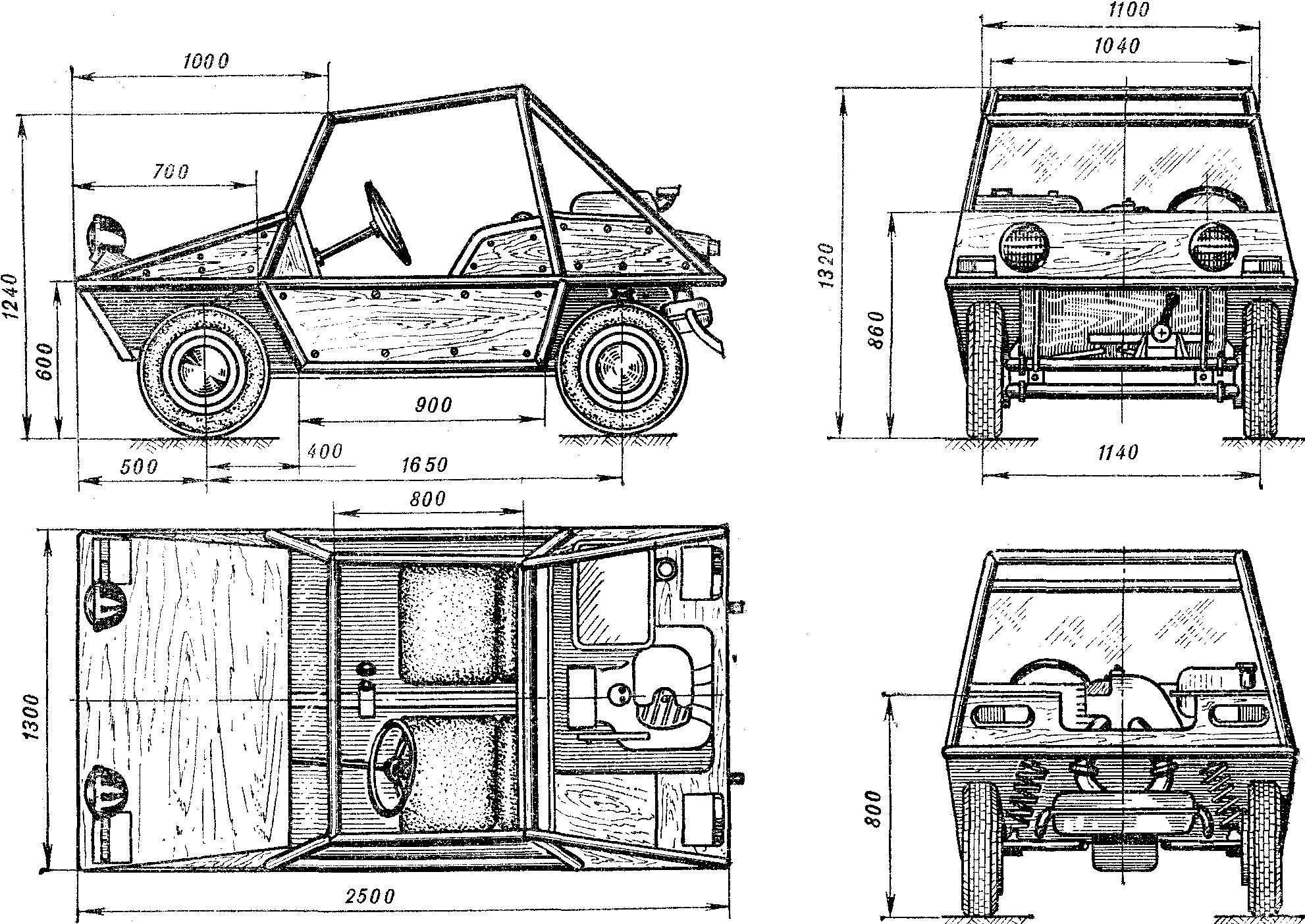 Рис. 1. Общий вид спортивного автомобиля багги-350.