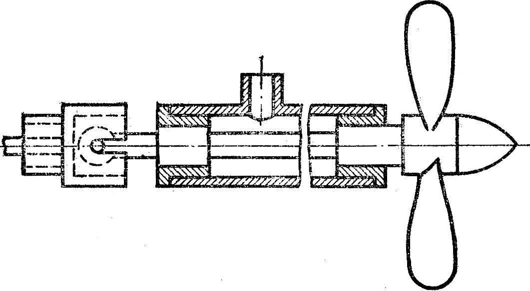 Рис. 3. Дейдвудная труба с валом и винтом.