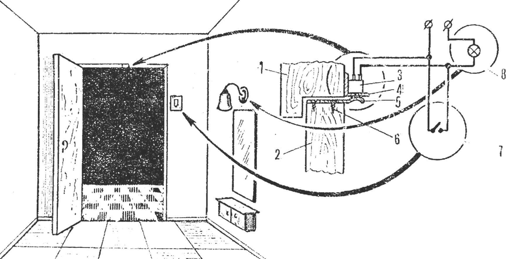 Рис. 1. Установка микропереключателя для освещения прихожей
