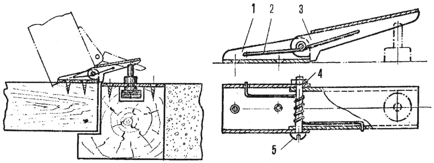 Рис. 2. Еще одна конструкция «дверного» выключателя и устройство нажимной, скобы