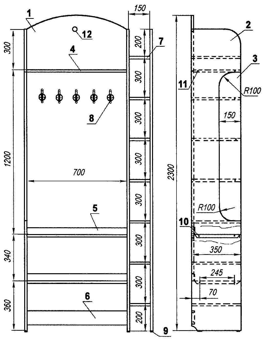 Шкаф-вешалка для прихожей
