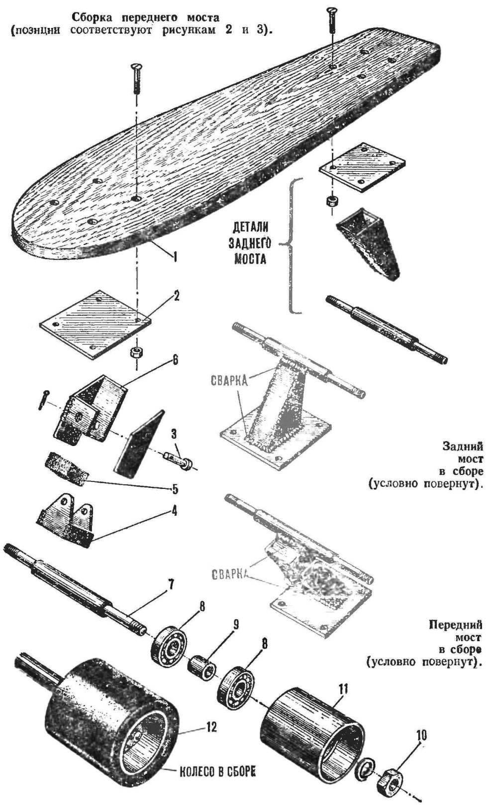 Рис. 4. Асфальтовый серфер, схема сборки (2-я деталь — 2 шт.).