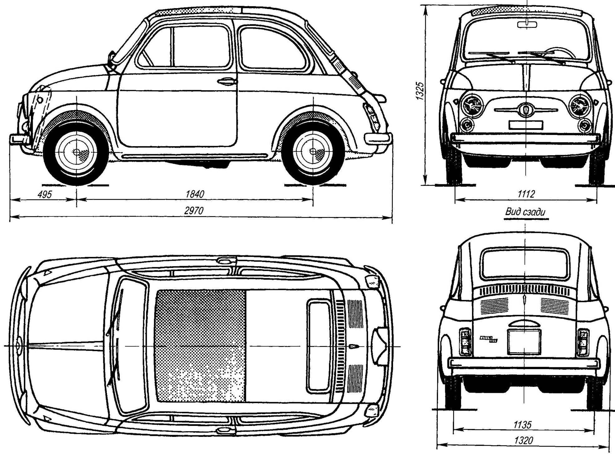 Геометрическая схема автомобиля FIAT-500 Nuova (Bambino)