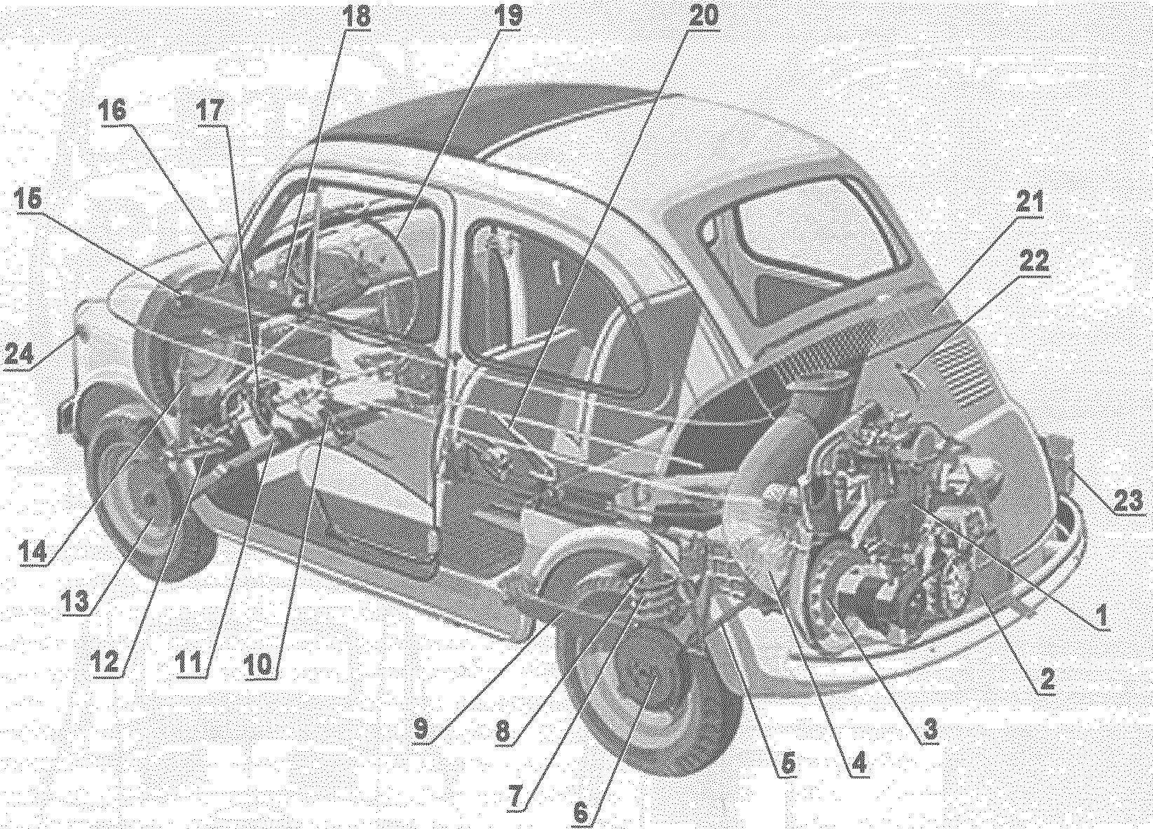 Компоновка автомобиля FIAT-500 Nuova (Bambino)