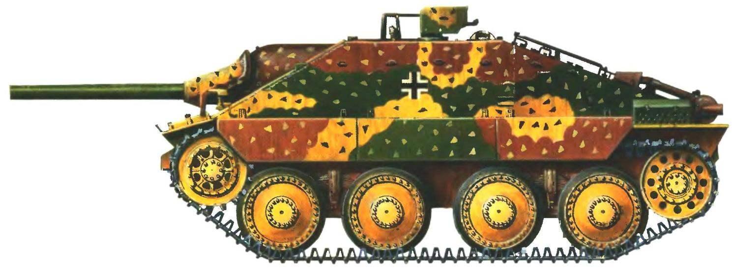 Истребитель танков «Хетцер» в «засадном» комуфляже. Франция, ноябрь 1944 года