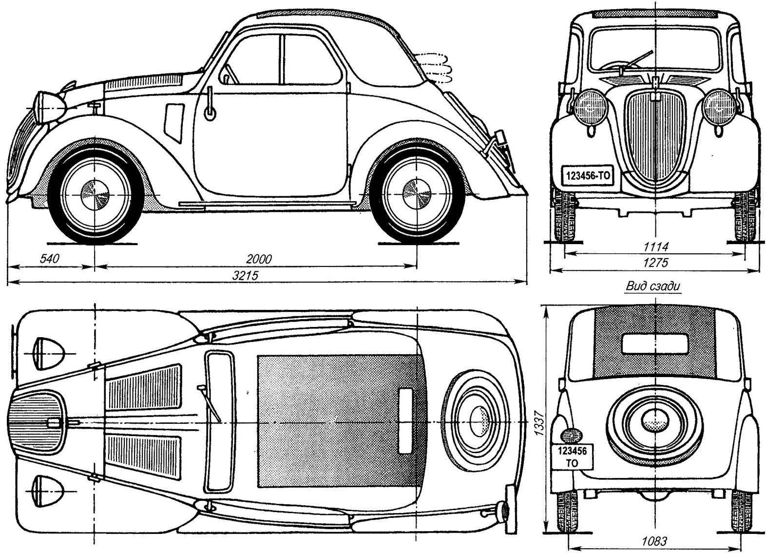 Геометрическая схема автомобиля FIAT-500 Topolino первой серии