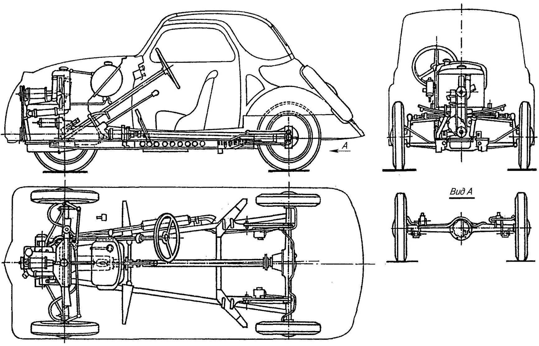 Компоновка FIAT-500 Topolino первой серии