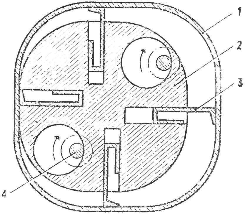 Рис. 1. Схема двигателя Ружицкого
