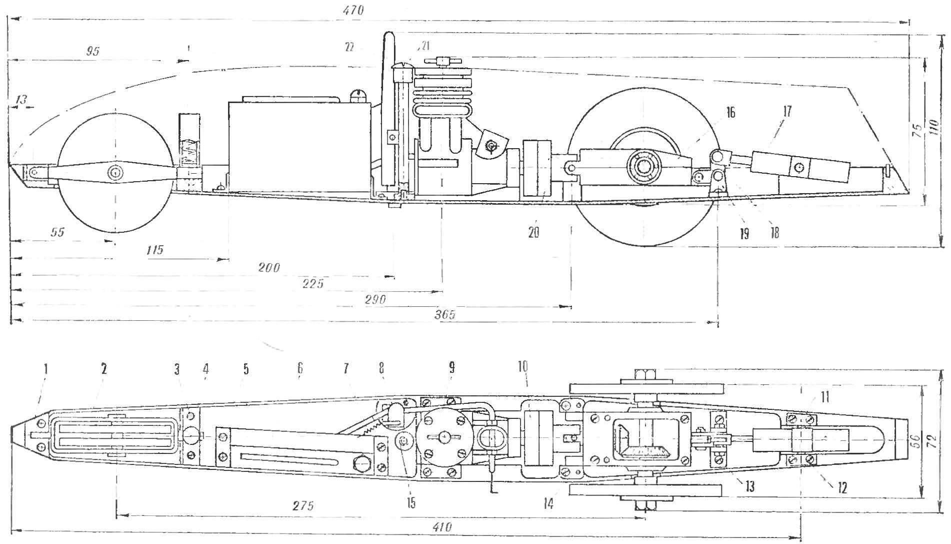 Гоночная автомодель с двигателем МД-2,5 «Метеор». Кордовая планка и верхний обтекатель условно не показаны