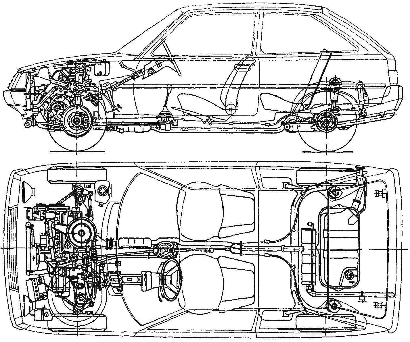 Компоновка автомобиля ЗАЗ-1102 «Таврия»