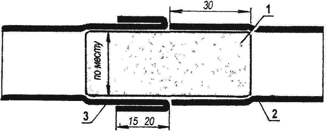 Рис. 1. Стыковка велокамеры с использованием внутренней оправки