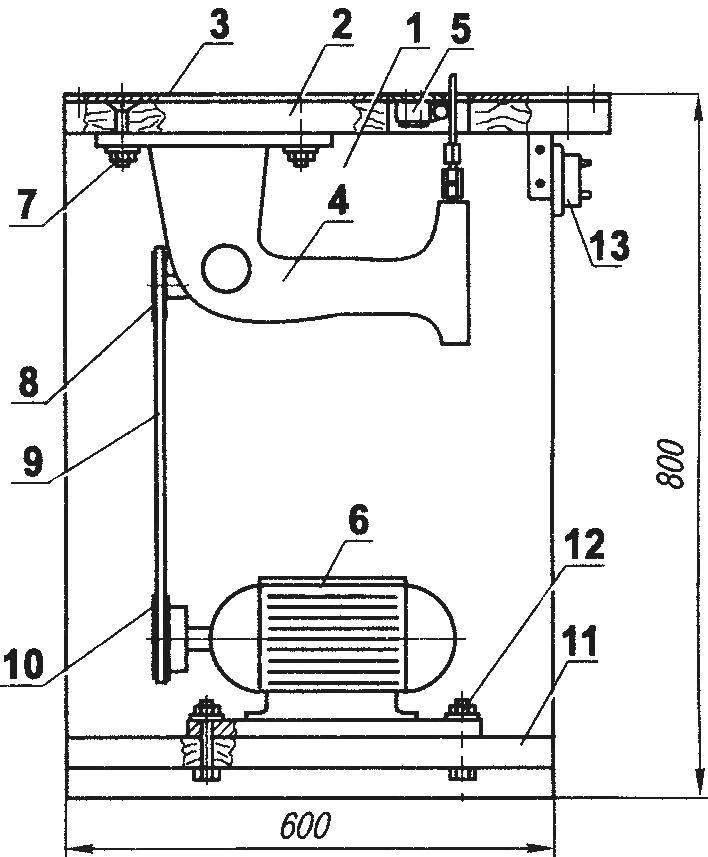 Стационарный лобзик по дереву из швейной машинки