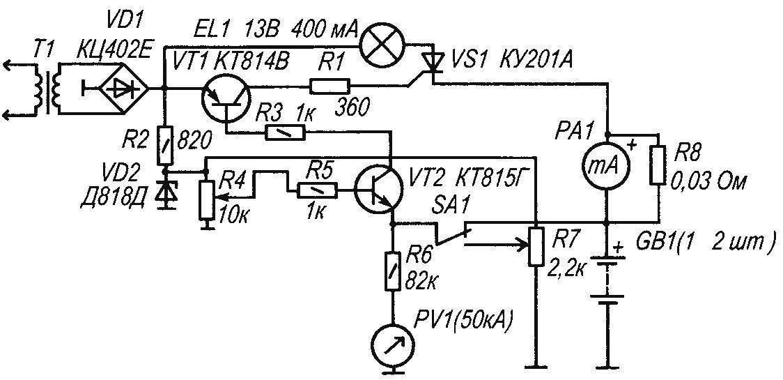 Принципиальная электрическая схема автоматического зарядного устройства для Ni-Cd аккумулятора