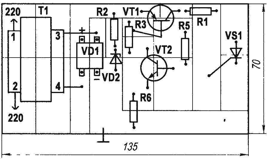 Печатная плата автоматического зарядною устройства