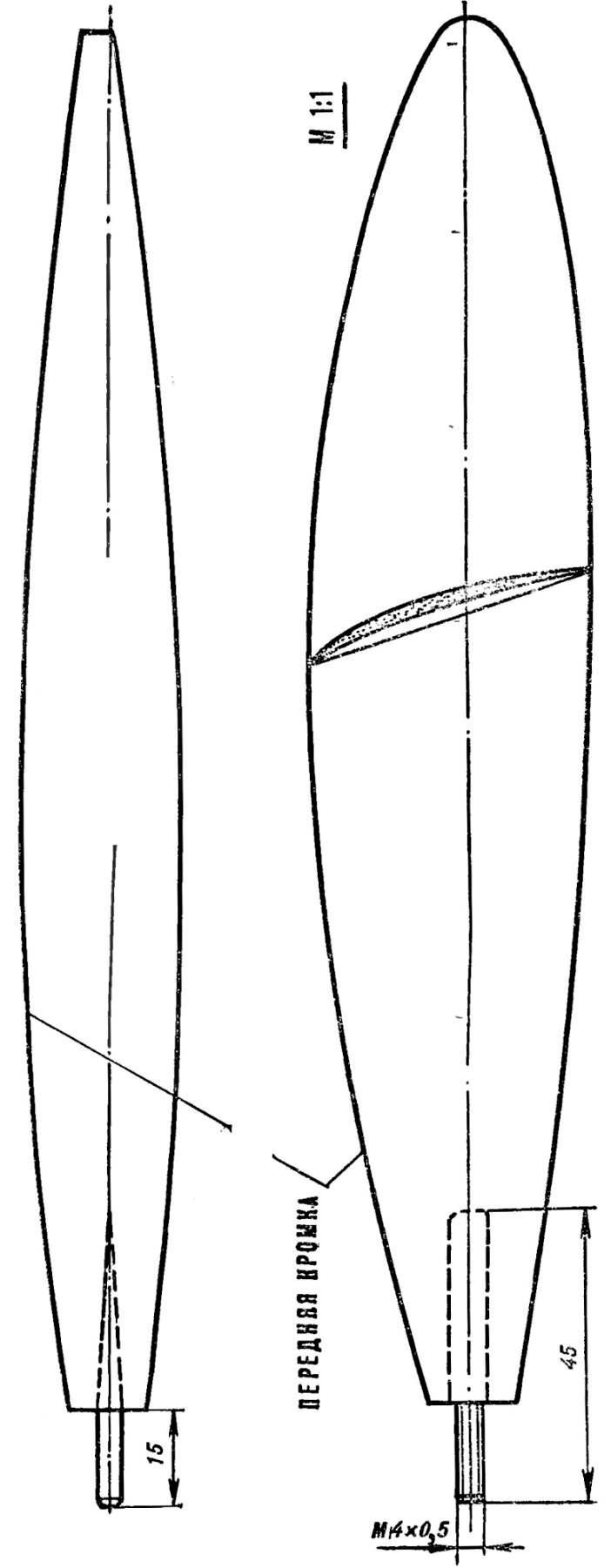 Рис. 2. Шаблоны лопасти винта.