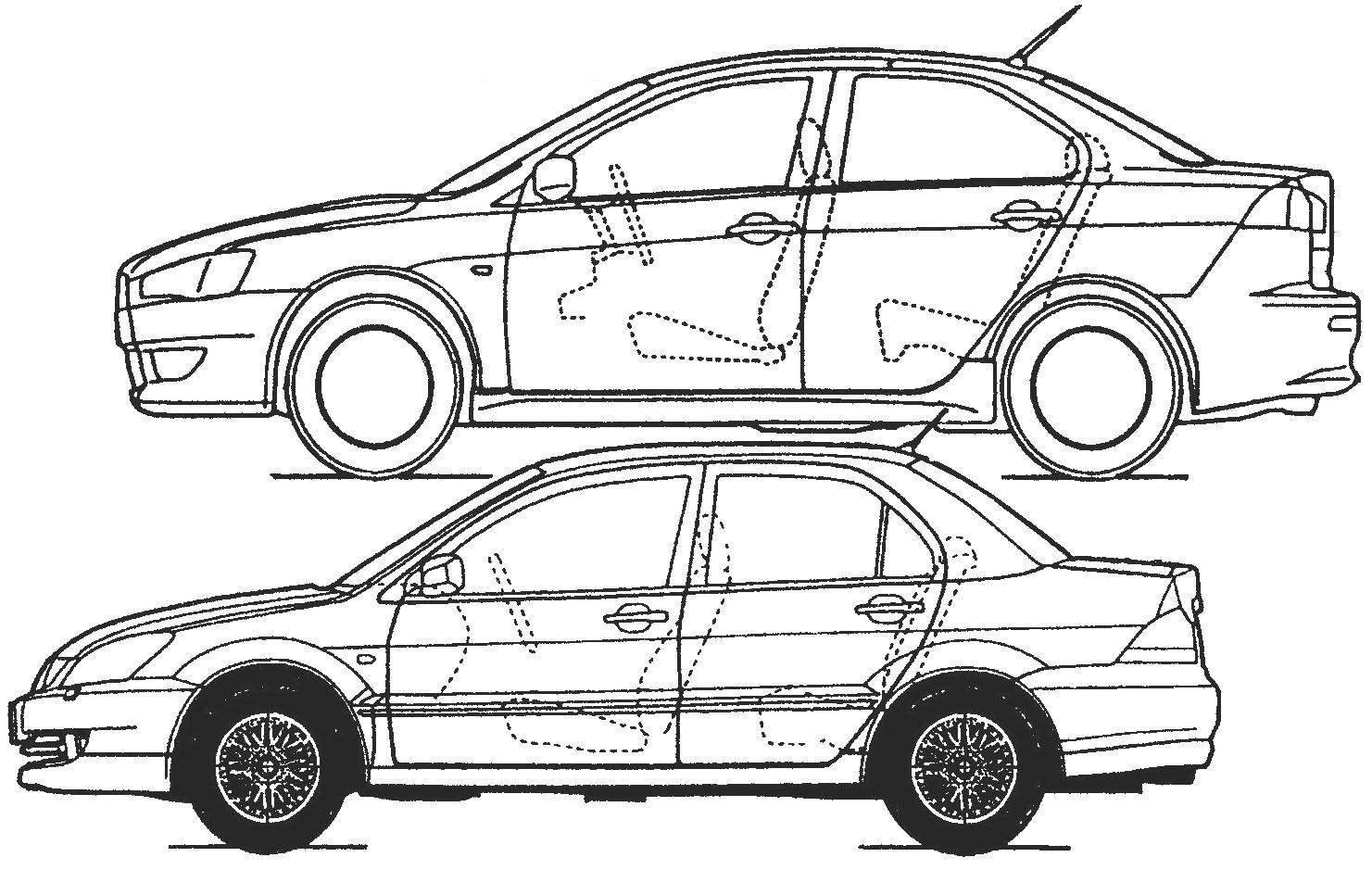 Не так-то просто найти общие черты у автомобилей Lancer 2003 года (внизу) и 2007 года (вверху)