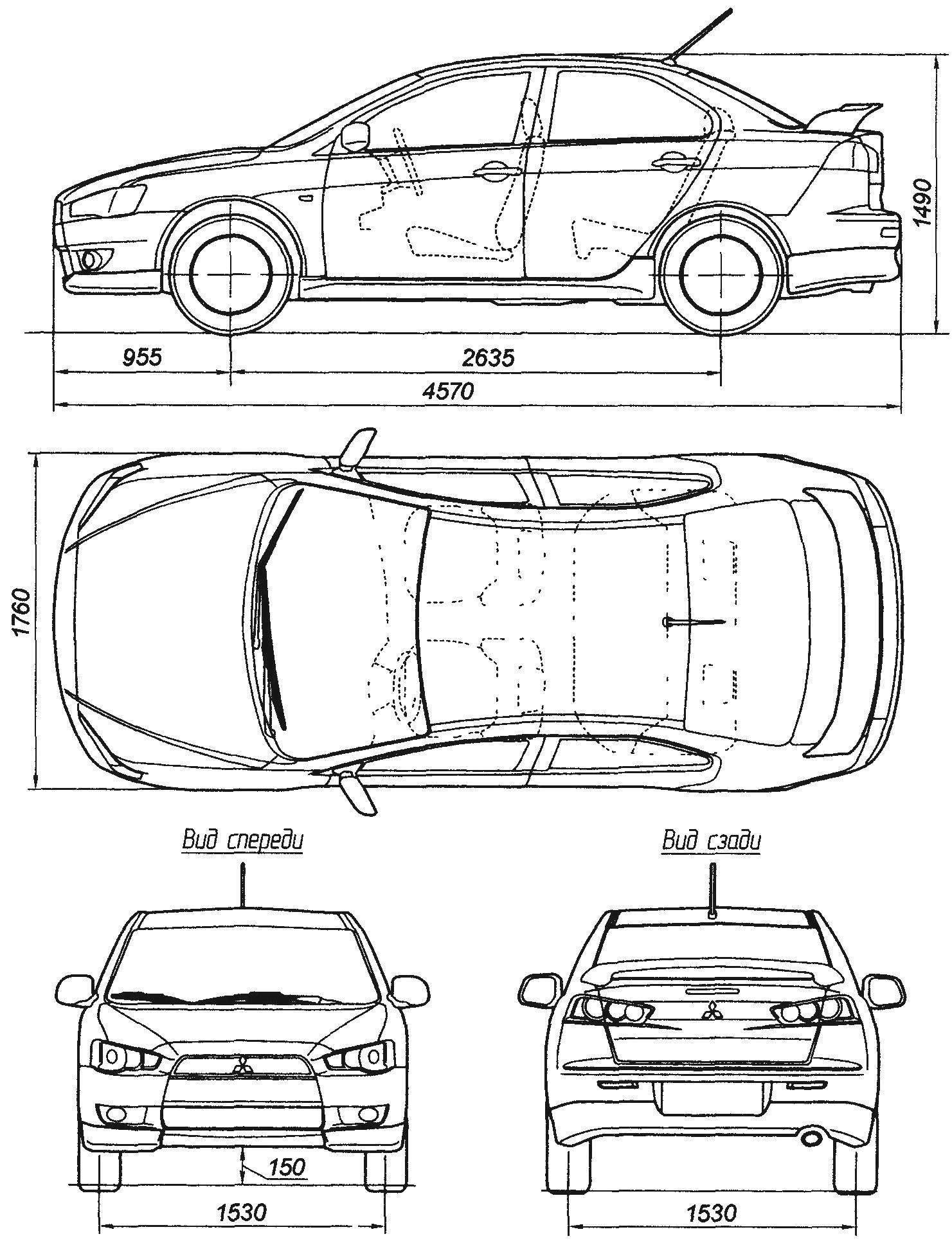 Геометрическая схема автомобиля Mitsubishi lancer выпуска 2007 года