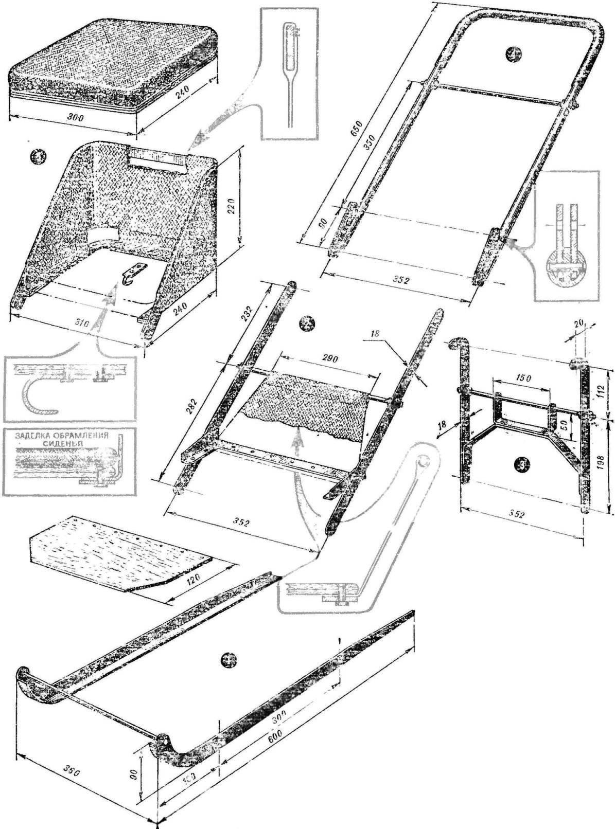 Рис. 3. Сборка санок (позиции соответствуют рисунку 1)
