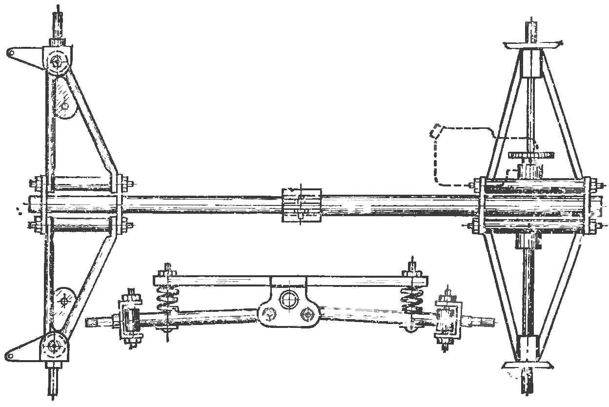 Рама микроавтомобиля. Обратите внимание на телескопическое соединение переднего и заднего мостов, позволяющее изменять базу машины.