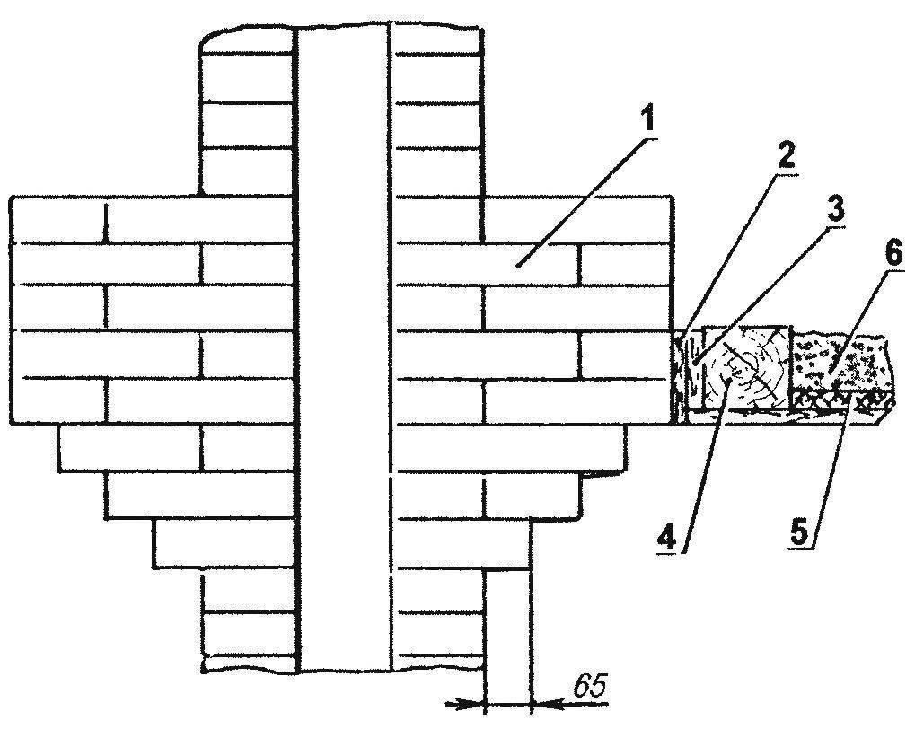 Устройство распушки с напуском кирпича в районе потолочного перекрытия