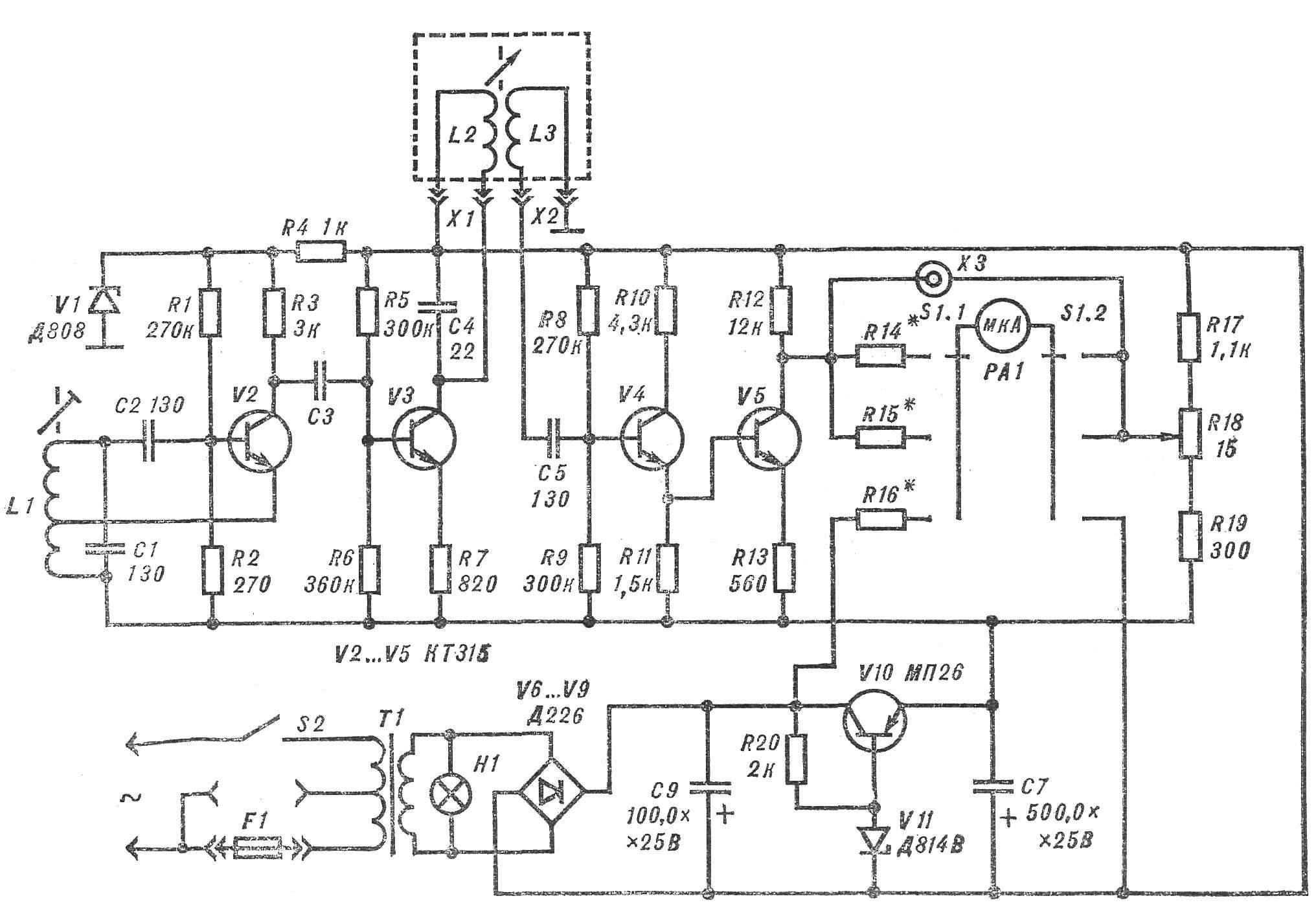 Принципиальная схема прибора для измерения давления.