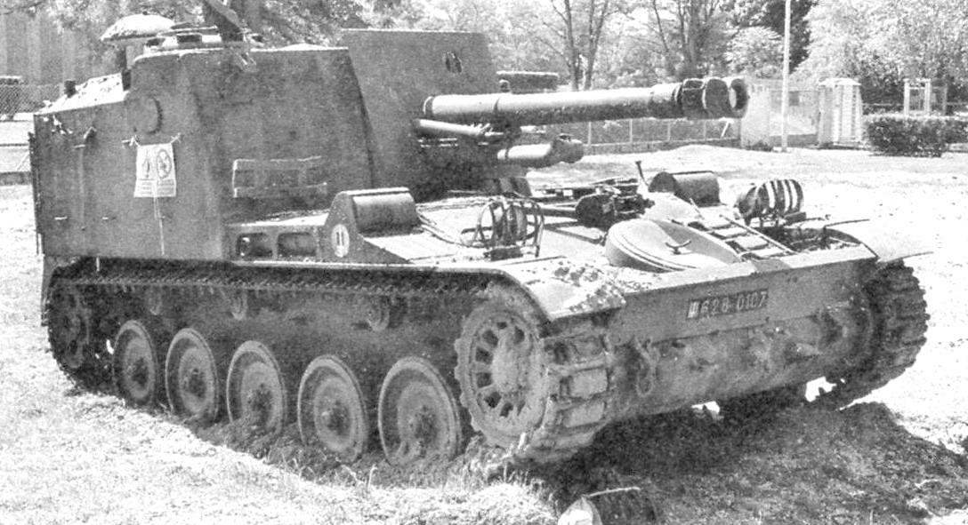 Self-propelled gun AMX 105 AM with a 105 mm howitzer Мк61 with an open top turret on the chassis of the AMX-13