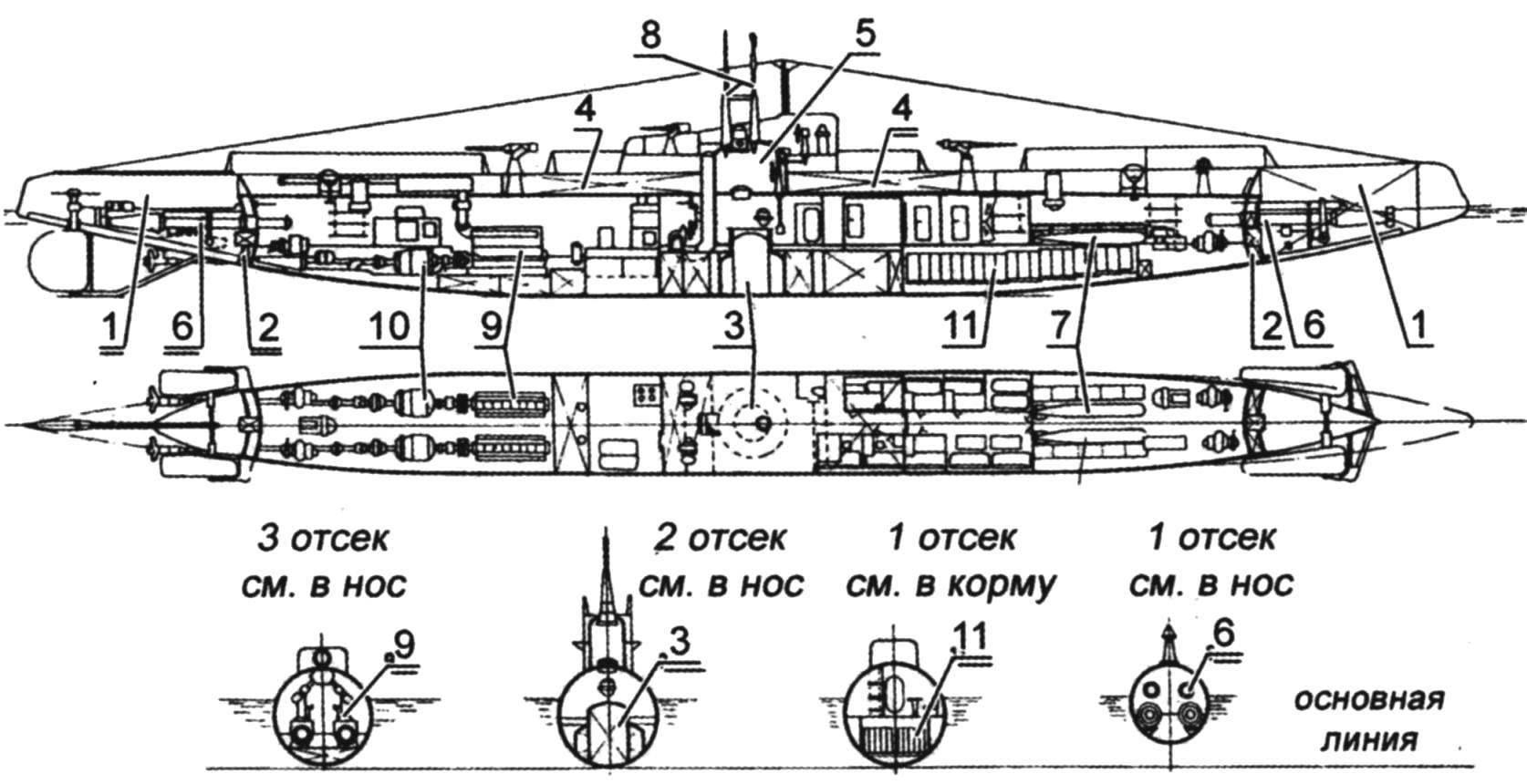 General scheme of the modernized submarine B-2 (
