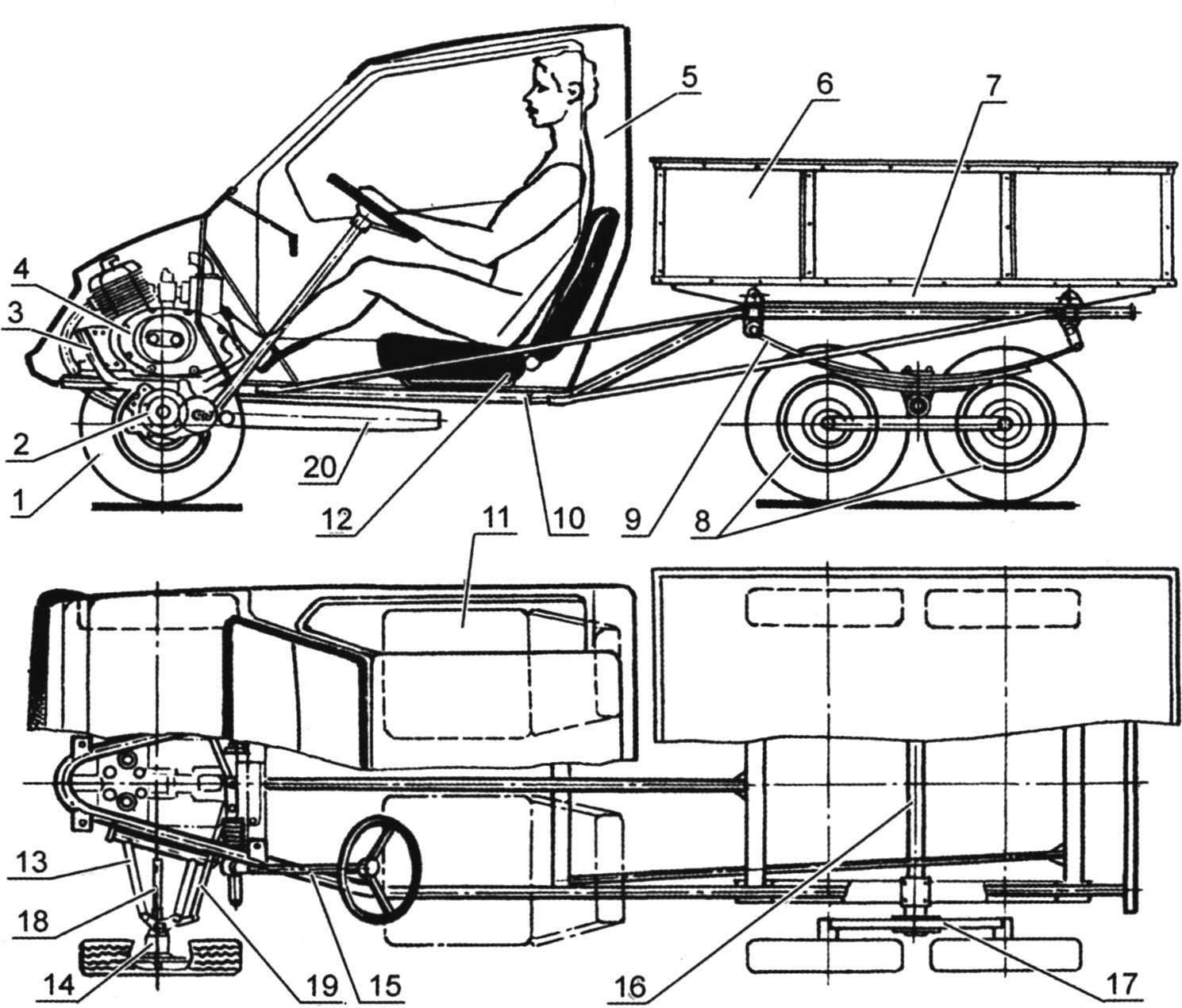 Компоновка мотогрузовичка