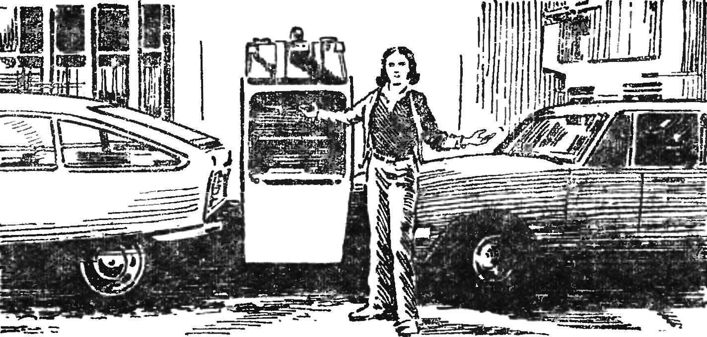 Рис. 5. Решение проблемы автостоянок, предложенное французом Р. Бенуа. Автомобиль-малютка поставлен вертикально.