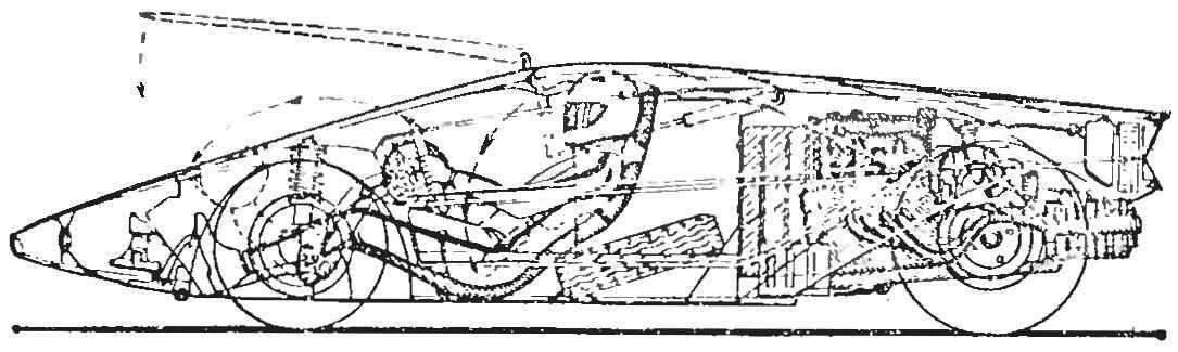 Рис. 1. Компоновка основных агрегатов и расположение водителя в автомобиле «Стратос».