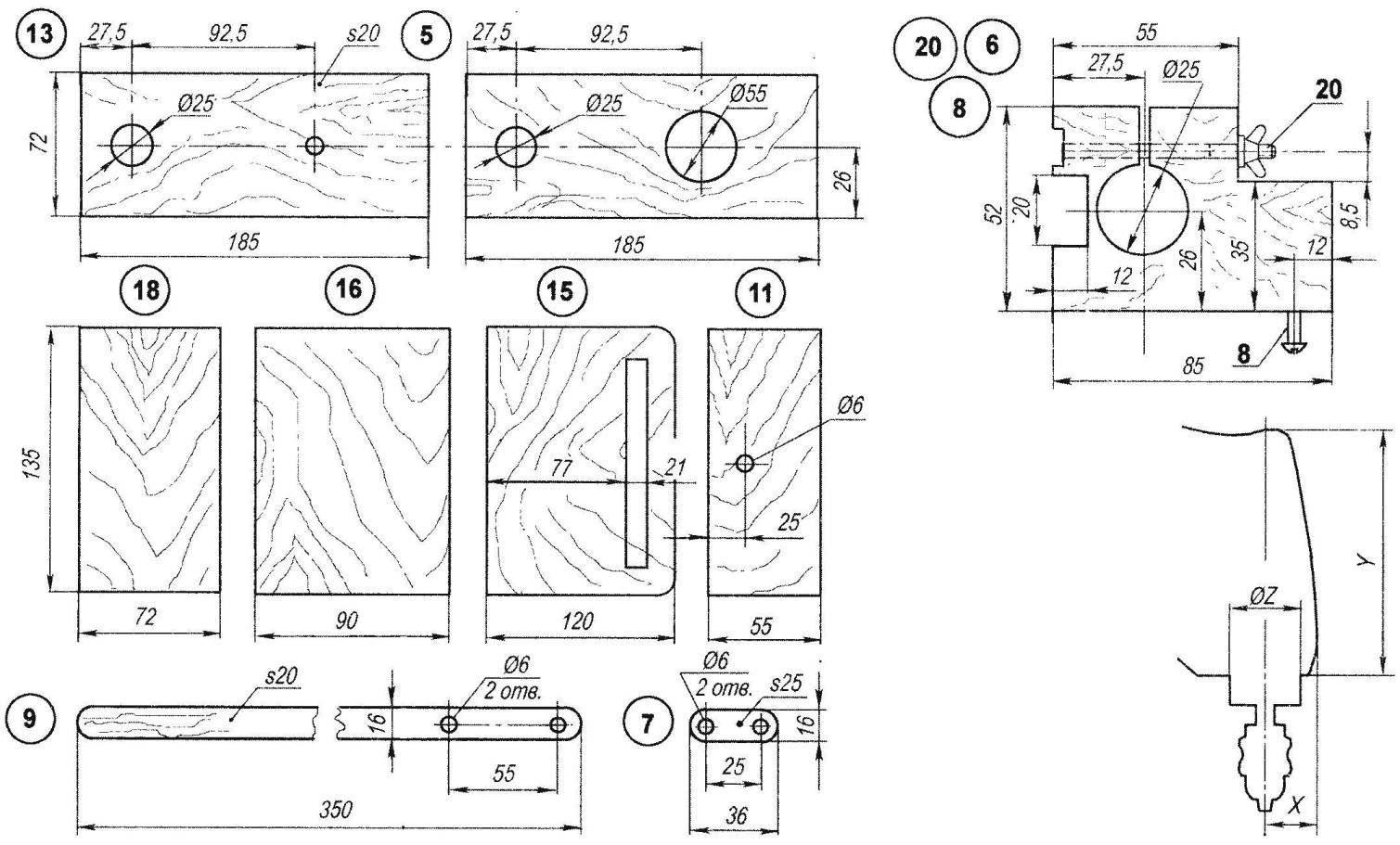 Параметры дрели, от которых зависят возможные изменения соответствующих размеров на схеме станка
