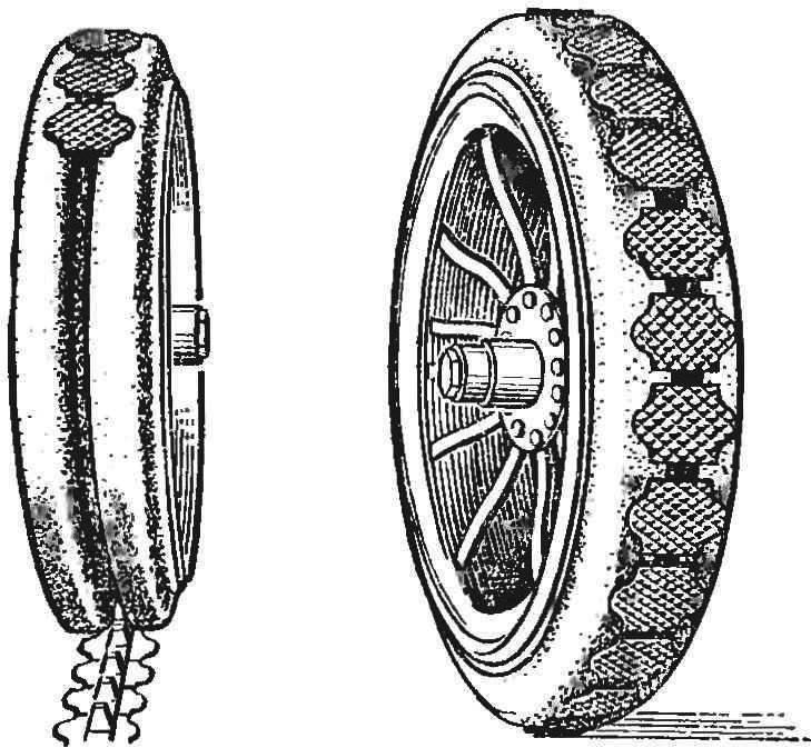 Рис. 1. Колесо бронеавтомобиля начала века — с шиной из сплошной резины и лентой противоскольжения.