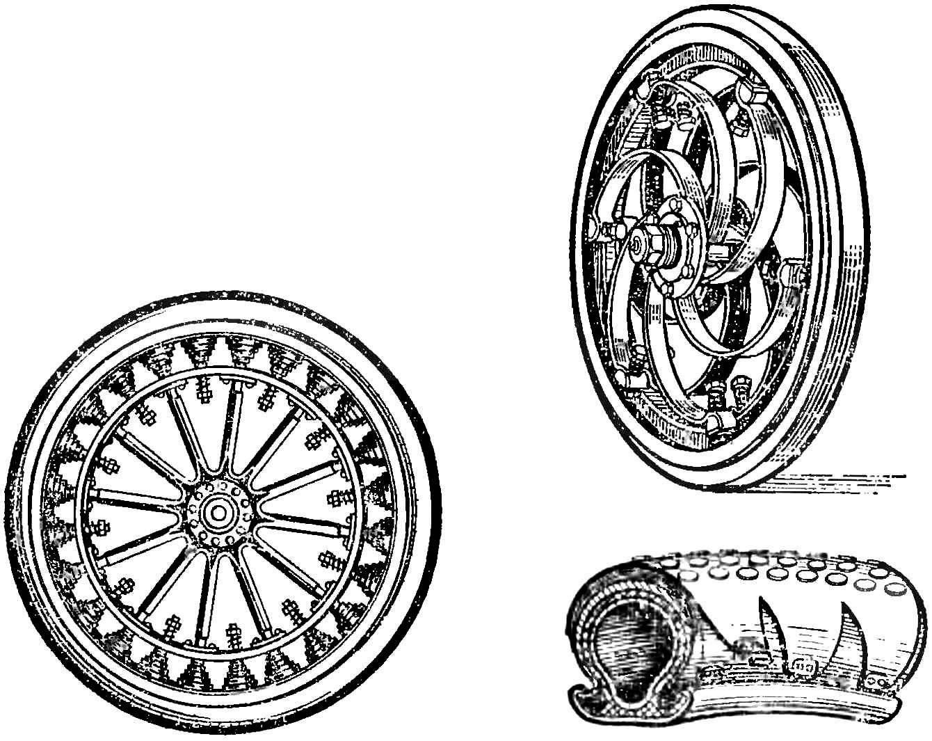 Рис. 2. Пружинные колеса и шина из пружин в кожаном чехле.
