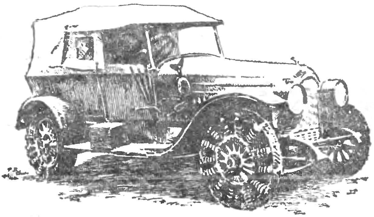 Рис. 3. Автомобиль на пружинных колесах.