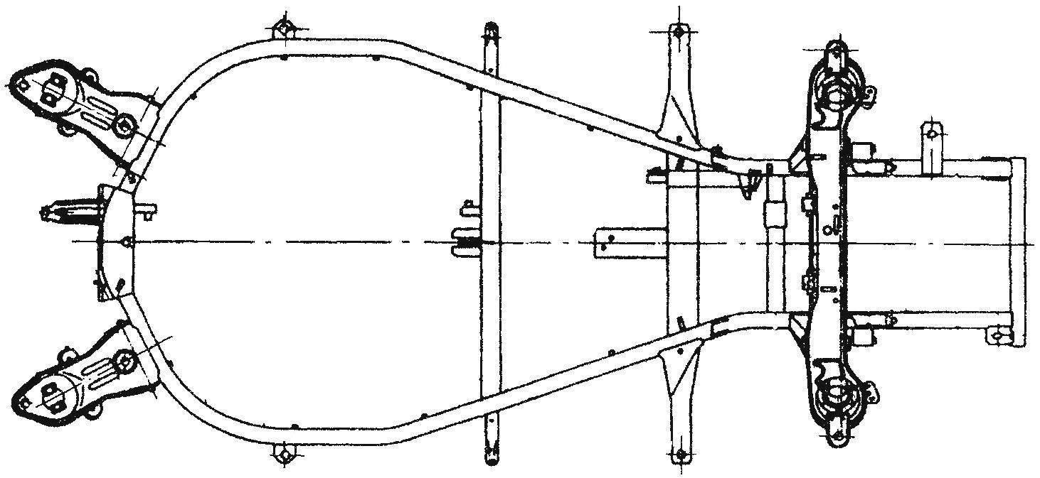 Рама автомобиля Wartburg 1.3, доставшаяся ему в «наследство» от довоенных машин
