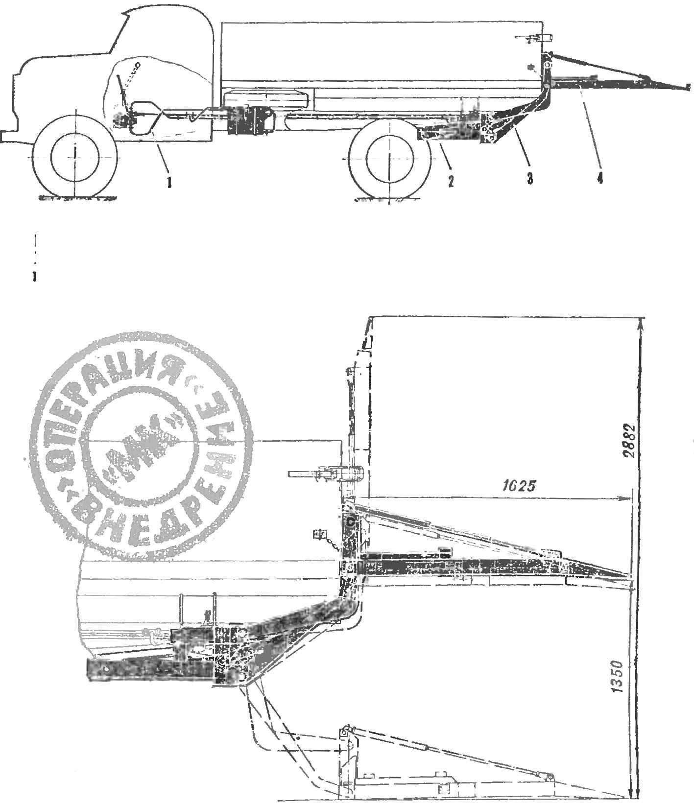 Автомобиль с грузоподъемным бортом и его схема