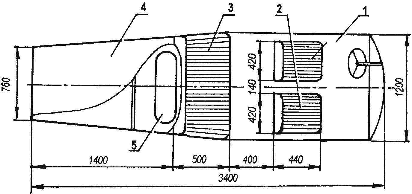 Компоновочная схема кузова аэросаней АК-5