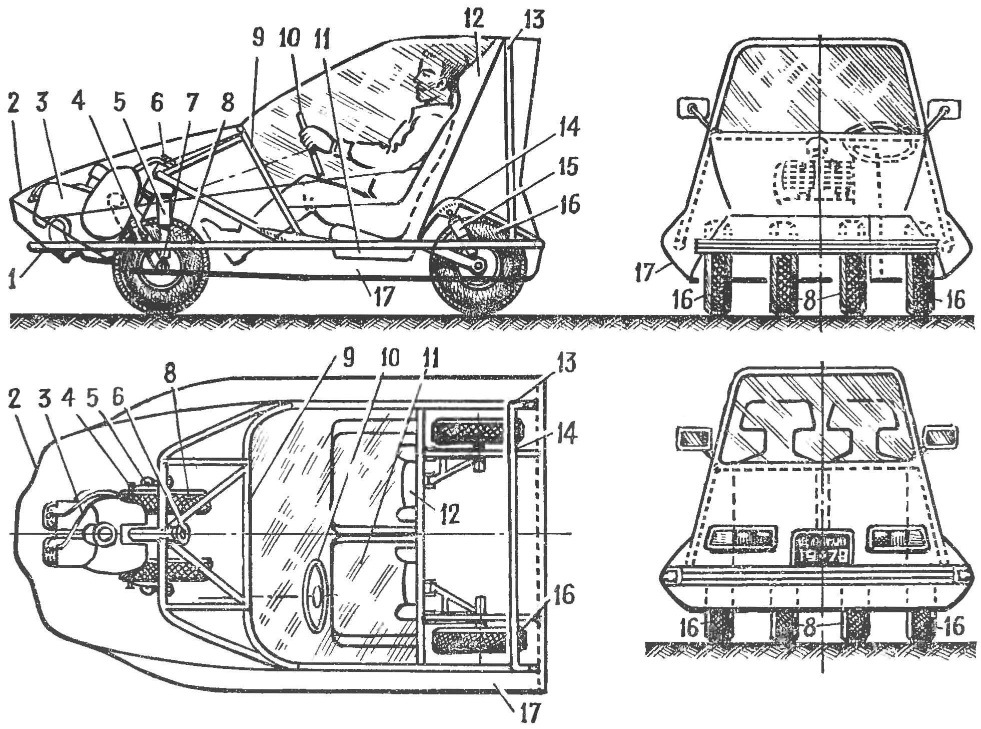Схема микроавтомобиля «АЛЬФА»