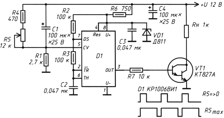 Рис. 6. Электрическая схема с питанием 12 В, расширяющая возможности тёплого «стола»