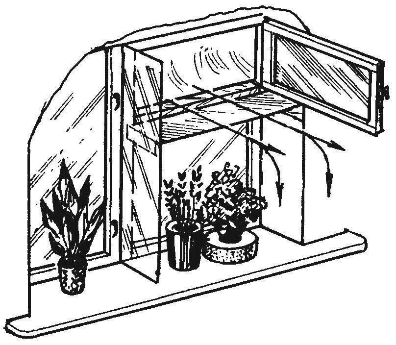 Аэроотсекатель холодного воздуха на окне с комнатными растениями