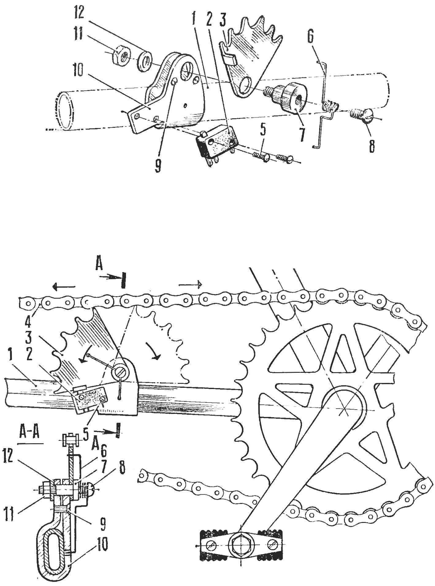 Рис. 1. Устройство датчика стоп-сигнала для дорожного велосипеда