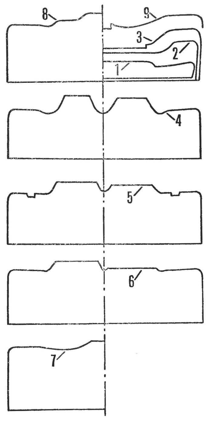 Рис. 1. Сечения кузова модели «Мираж М6».