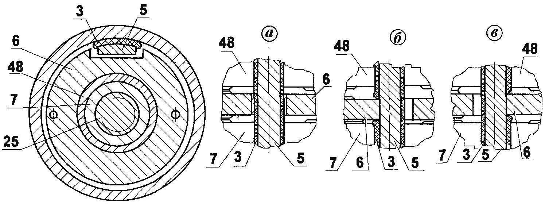 Рис. 3. Схема перемещений управляющего кольца 6 относительно шпонки 3,5 при переключении скоростей