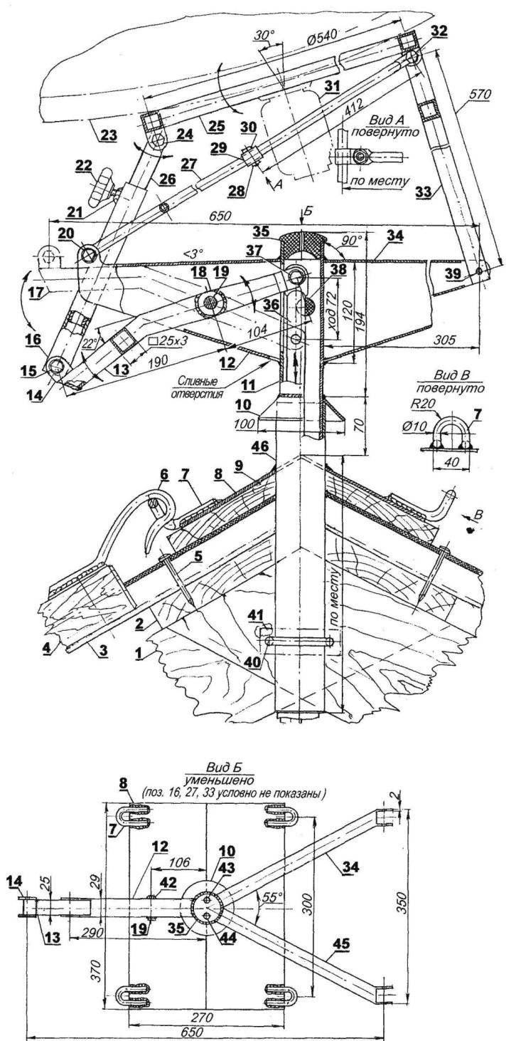 Рис. 2. Второй («продвинутый») вариант мачты для монтажа спутниковой телевизионной антенны-«тарелки» на крыше дома