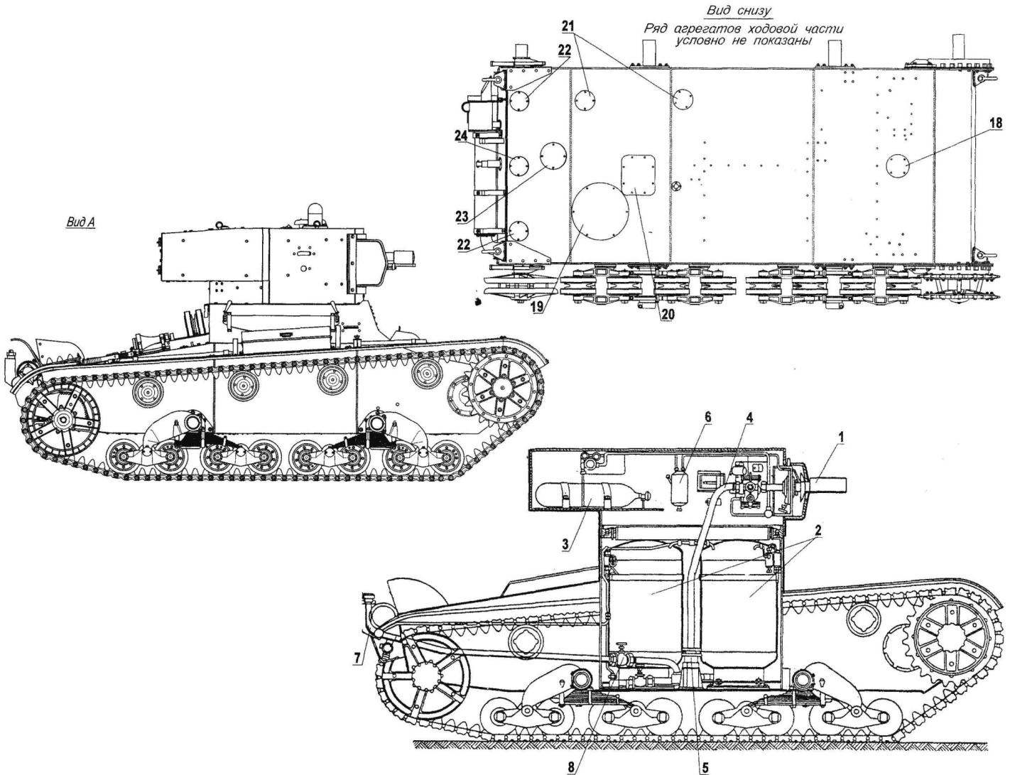 The layout of the tank KHT-130