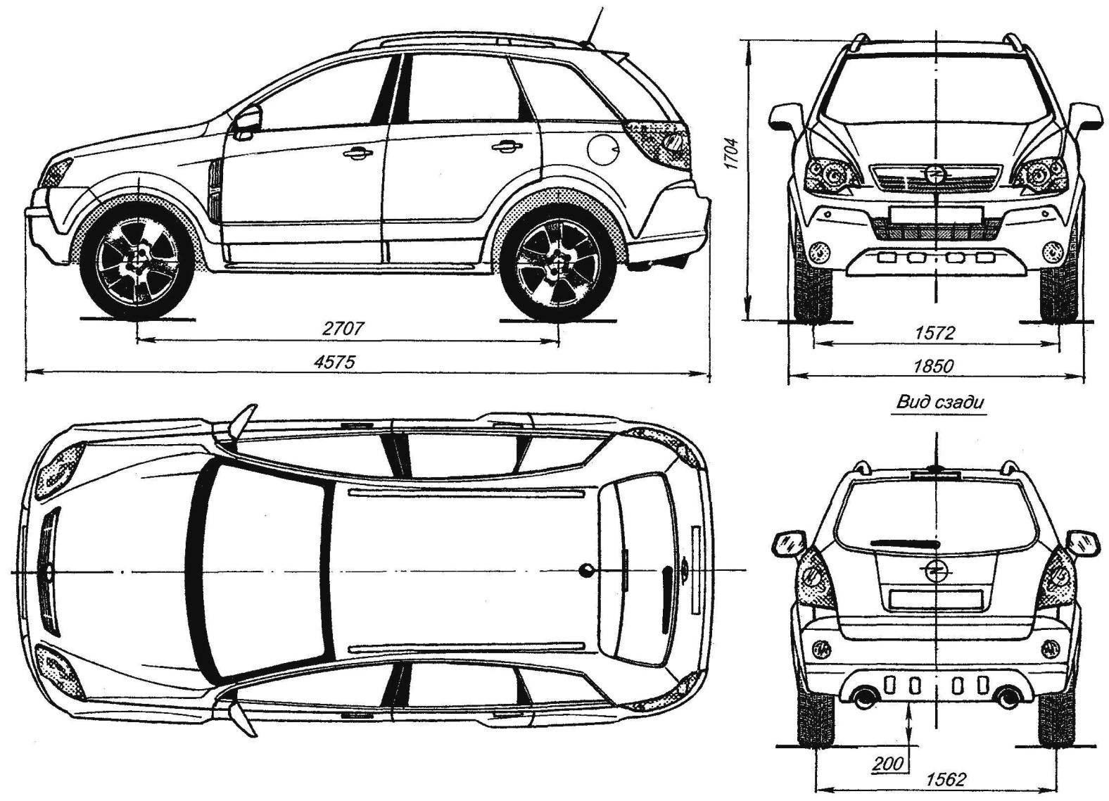 Геометрическая схема автомобиля Opel Antara